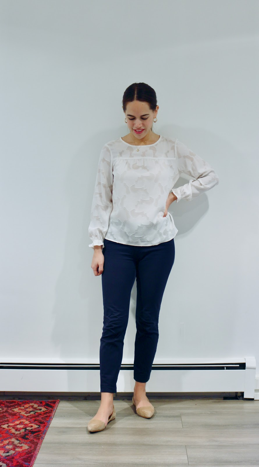 Jules in Flats - Floral Jacquard Blouse (Business Casual Fall Workwear on a Budget)