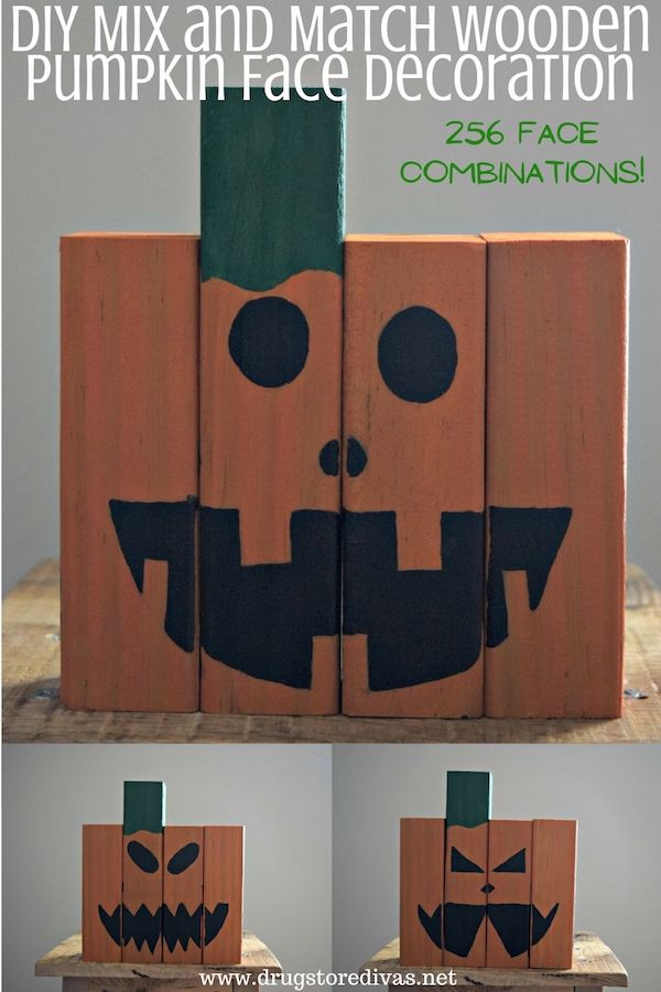 DIY Mix and Match Wooden Pumpkin Face Decoration