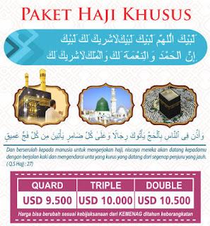 Biaya Paket Haji Khusus Onh Plus Kuota Pemerintah Depag