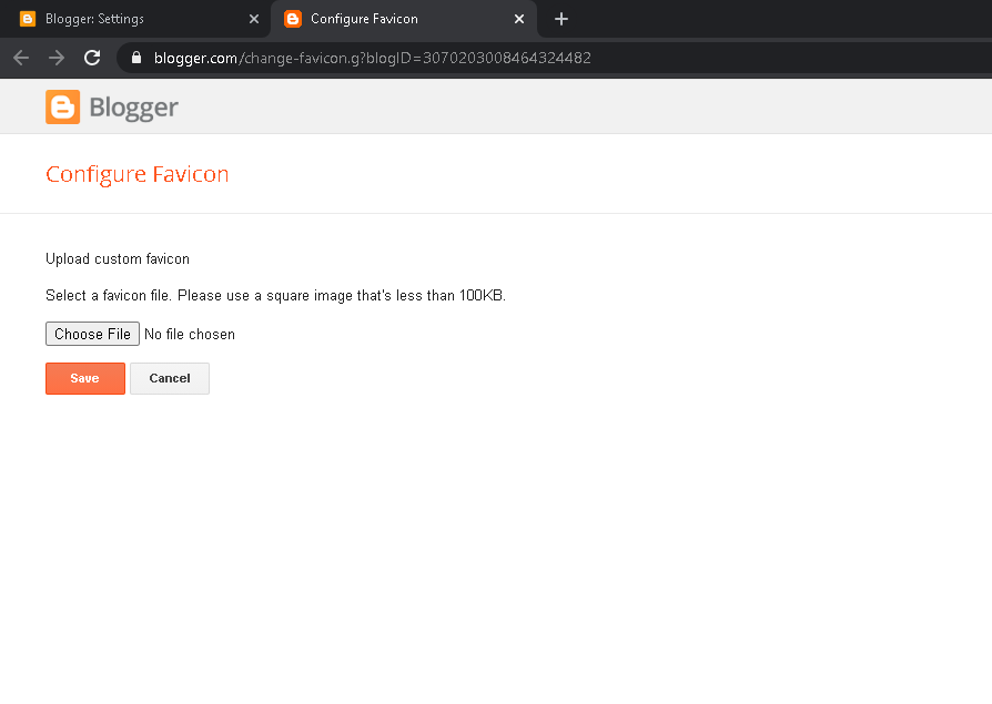 unggah gambar favicon blog custom