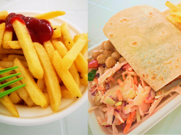 Close up image of some fries with ketchup on top and an image of a gluten free halloumi wrap with coleslaw and chickpea salad