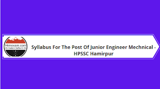 Syllabus For The Post Of Junior Engineer Mechnical -HPSSC Hamirpur
