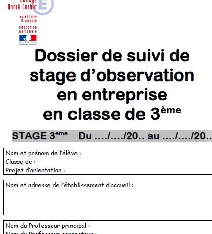 Page De Garde Rapport De Stage Pdf