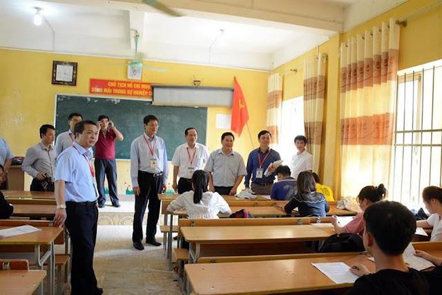Kiểm tra cơ sở vật chất tại điểm thi Trường trung học phổ thông dân tộc nội trú Pò Tấu