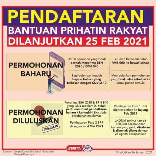 PERMOHONAN DAN KEMASKINI BANTUAN PRIHATIN RAKYAT (BPR) DILANJUTKAN HINGGA 25 FEBUARI 2021