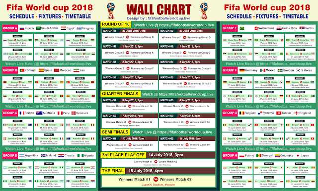 FIFA World Cup 2018 Match Schedule - Fixture in Indian Standard Time [Printable]