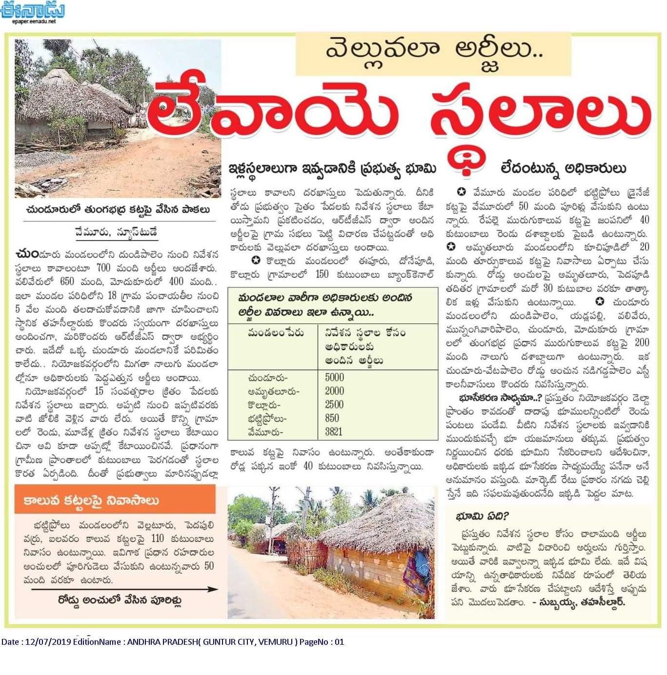 Modukuru Village news articles in Eenadu news paper, 12th