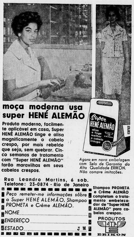 Propaganda antiga de 1959 para promover o alisante para cabelos Hené Alemão
