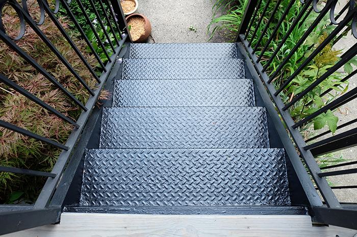 finished repainted metal outdoor steps