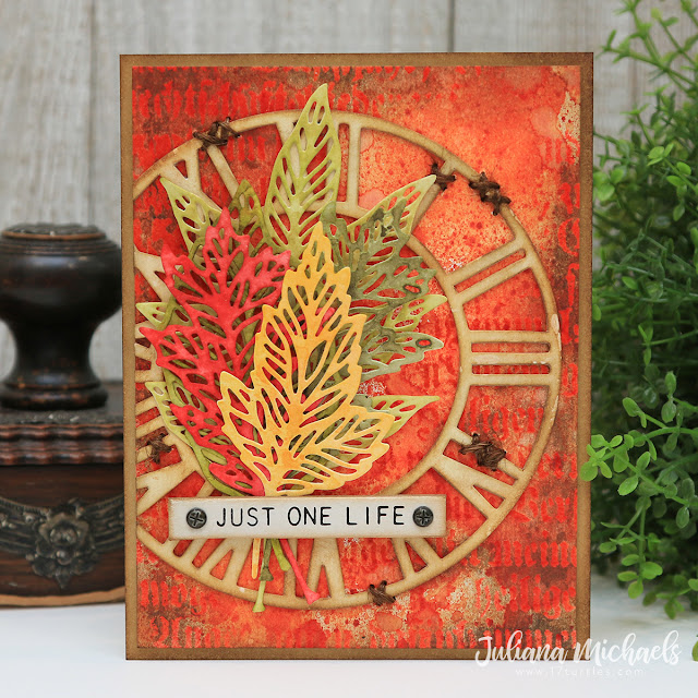 Crackling Campfire Tim Holtz Distress Just One Life Card by Juliana Michaels