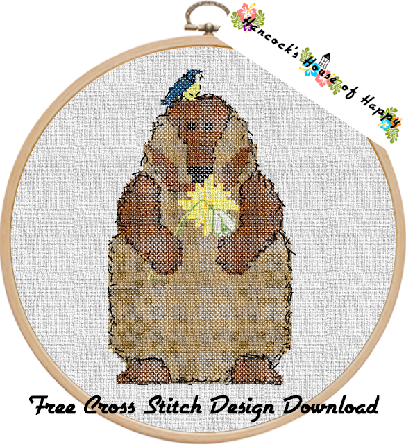 Free Cross Stitch Pattern for a Cute and Cuddly Groundhog