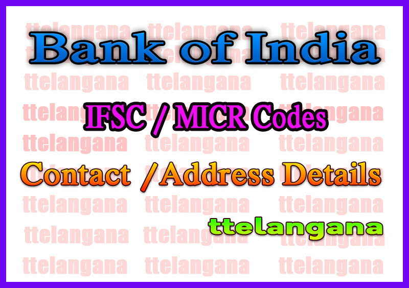 Bank of India IFSC Codes MICR Codes in Jabalpur City