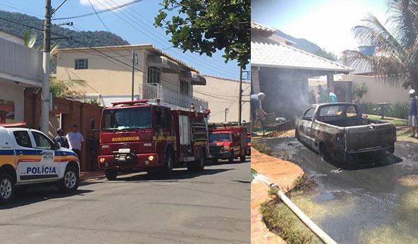 Carro pega fogo na garagem ao ser atingido por rojão em Andradas(MG)