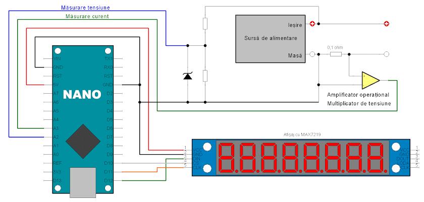 Voltampermetru cu Arduino și afișaj MAX7219
