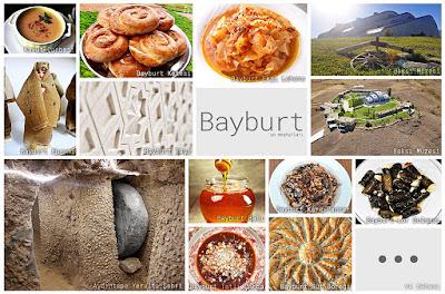 Bayburt'un meşhur şeylerini gösteren resimlerden oluşan kolaj