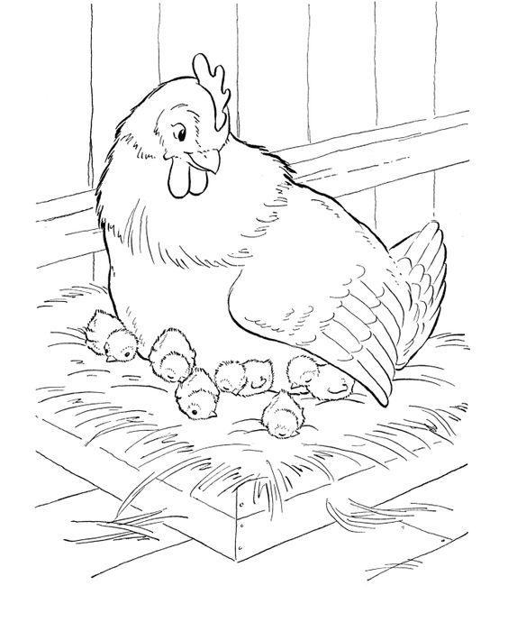 Tranh tô màu gà mẹ và gà con trong ổ