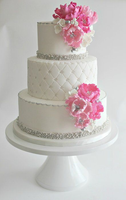 grey wedding cake with pink flowers tartas originales para bodas pasteles de boda con 14985