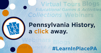 PHMC logo in a circle with other colored circles randomly placed. Text reads: Pennsylvania History, a click away. #LearnInPlacePA
