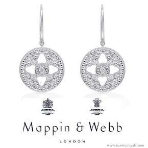 The Duchess accessorised with her Mappin & Webb earrings and pendant