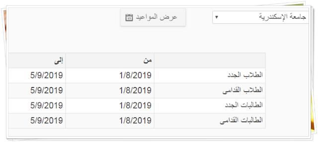 مواعيد التقديم للمدن الجامعية بجامعة الاسكندرية للعام 2019-2020 للطلاب الجدد والقدامى