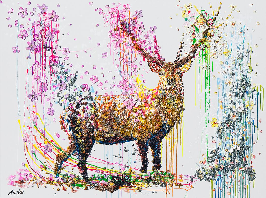 deer painting, deer, office painting, deer 3d, deer mixed, deer textured, deer impasto, deer dot ,abstract deer, modern deer, pop art deer, voznarski deer, anatoli deer