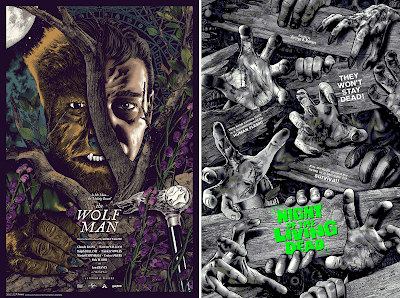 The Wolf Man & Night of the Living Dead Screen Prints by Anthony Petrie x Bottleneck Gallery x Vice Press