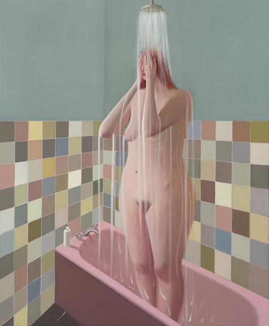 Prudence Flint, pinturas, imagenes de soledad femenina bonitas, chidas de arte inspirador, mujer, ducha,