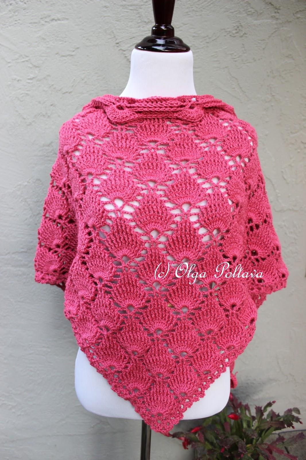 Lacy Crochet Bright Pink Shells Crochet Scarf