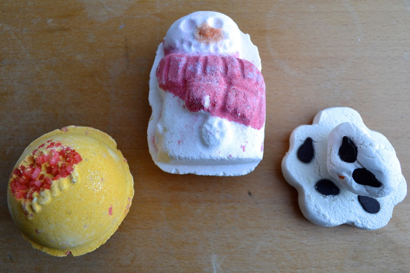 Cinders Bath Ballistic, Snowman Bath Ballistic and Melting Snowman Bath Melt.