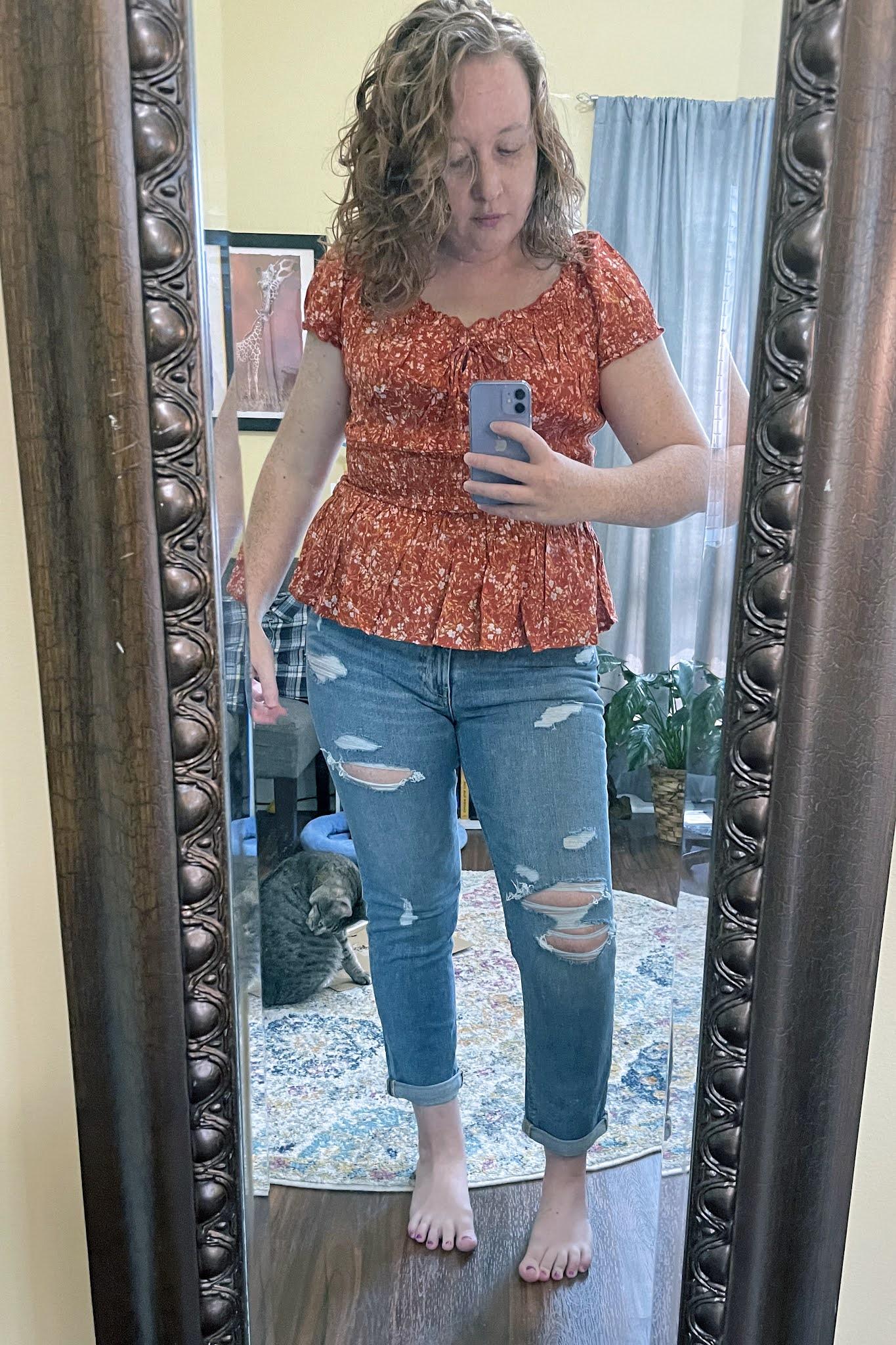 puff-sleeve-floral-print-peplum-blouse