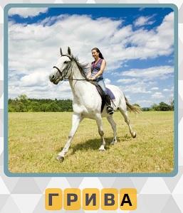 600 слов по полю бежит лошадь и девушка сверху с шикарной гривой 10 уровень