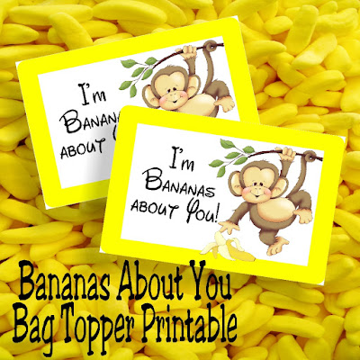 I'm Bananas About You! This free printable bag topper will show you how much this Valentine's day.  Simply print off the bag topper, add some candy bananas or dried bananas slices to a bag, and then add your To and From to the back for an easy class valentine perfect for boys or girls. #classvalentine #bagtopper #monkey #candybanana #diypartymomblog