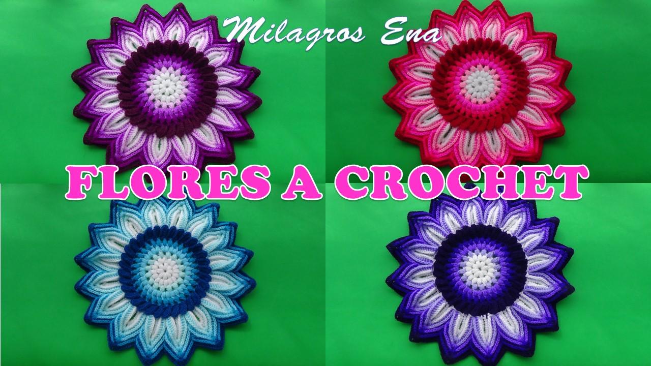 Milagros Ena Flores Tejidas A Crochet Para Aplicar En Centros De