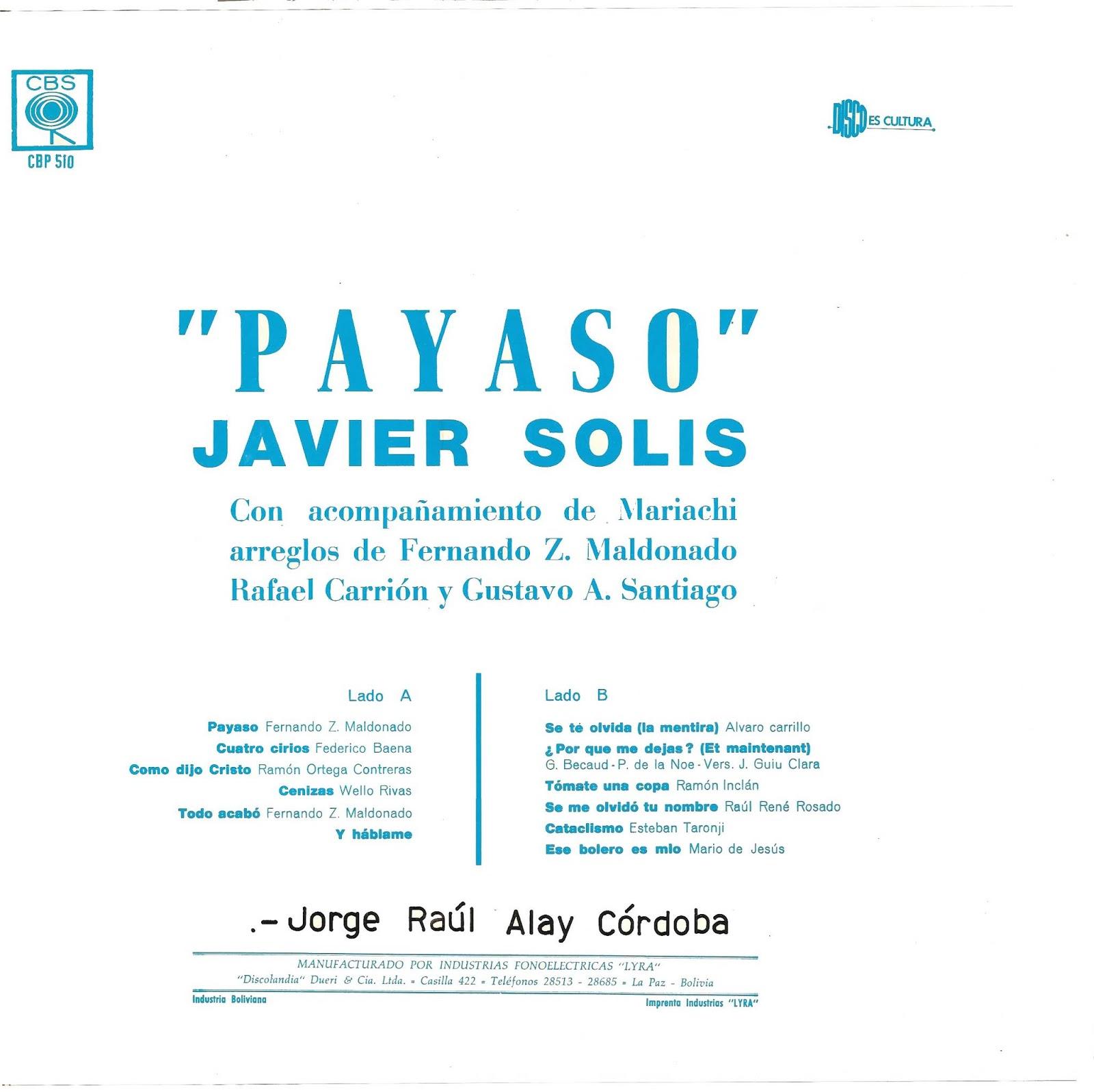 MUSICOTECA ALAY: JAVIER SOLIS - PAYASO (1965) LP