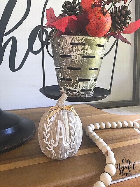 carved monogram pumpkin decor farmhouse beads olive bucket