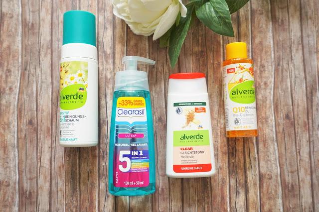 alverde - Sensitiv 3in1 Reinigungsschaum, Clearasil - Waschgel 5in1, alverde - Clear Gesichtstonic Heilerde, alverde - Q10 Reinigungsöl