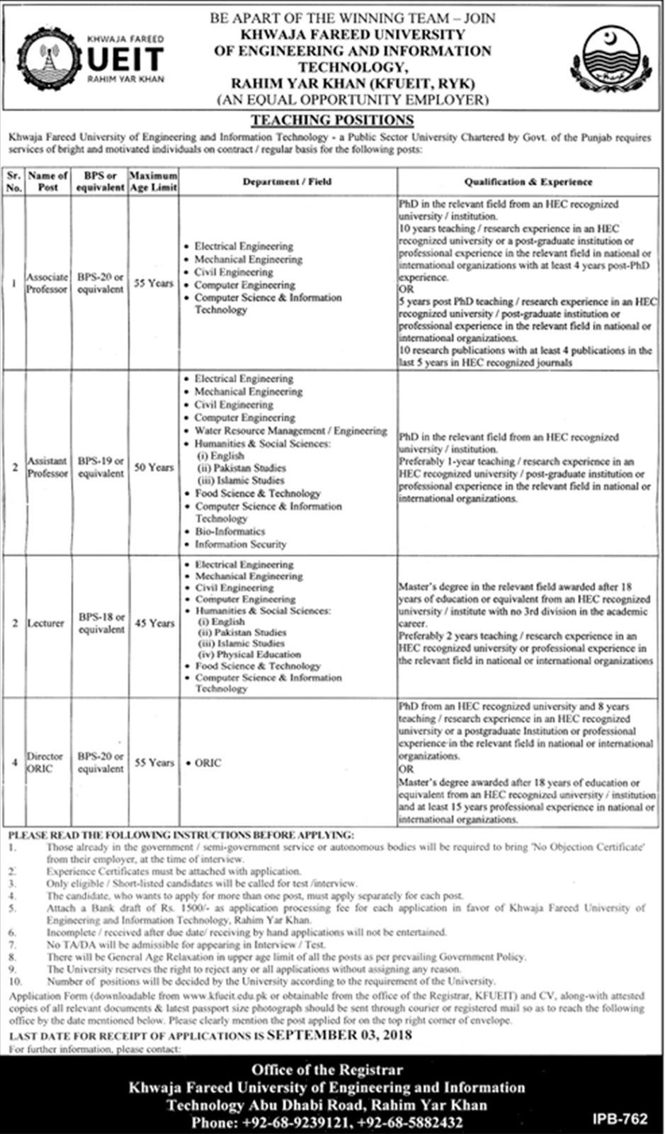 Khawaja Fareed University of Engineering &  Information Technology Latest Jobs 2018 Rahim Yar Khan