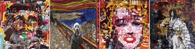 Imágenes de obras famosas hechas con material reciclado.