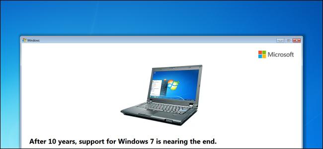 ويندوز 7 دعم نهاية التاريخ رسالة تذمر على سطح المكتب