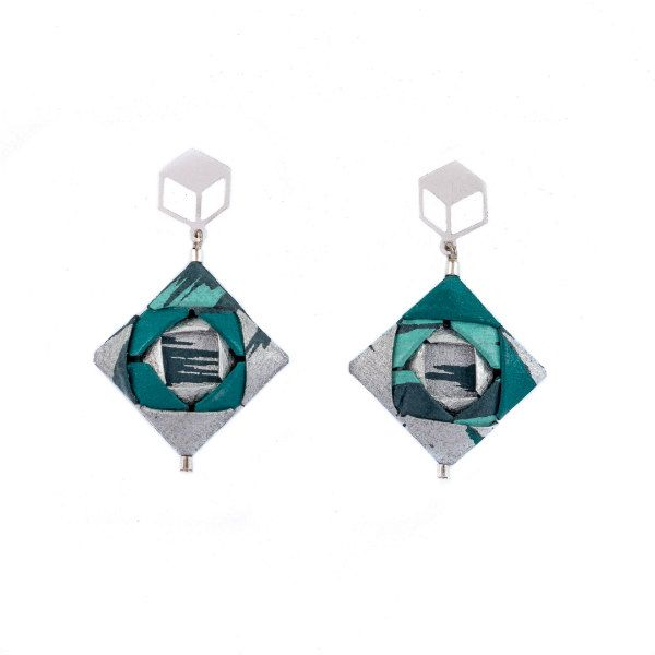 origami square earrings made with silver and teal papers