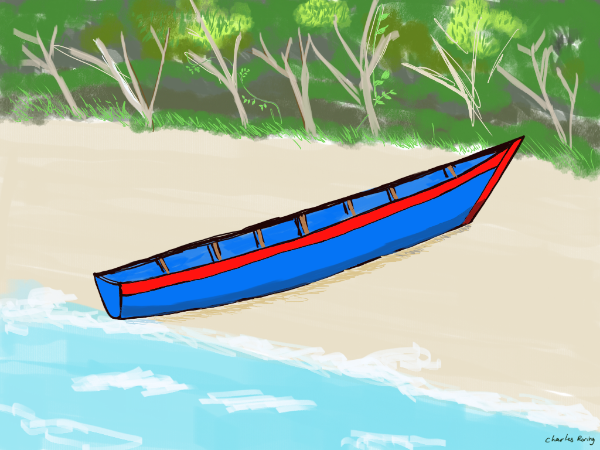 Sketch of wooden boat from Raja Ampat
