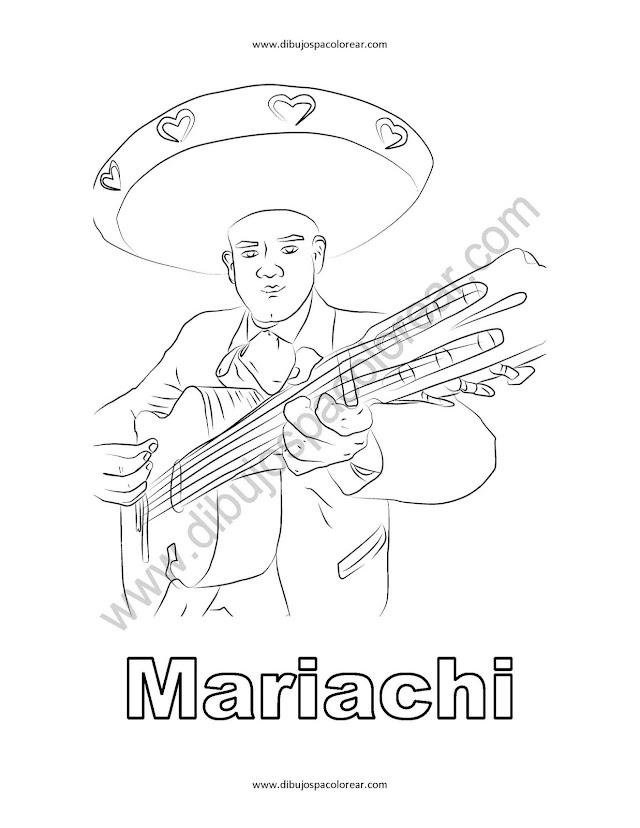 Mariachi dibujo para colorear