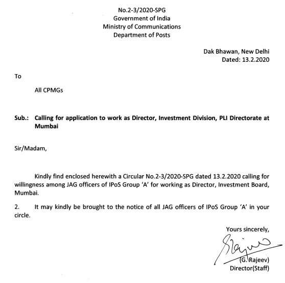 Calling Application to work as Director in investment Division PLI Directorate Mumbai