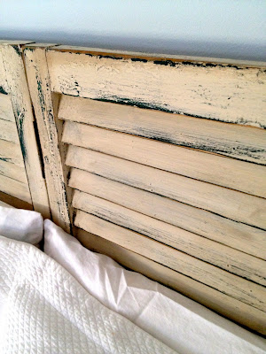 chalk painted shutter headboard