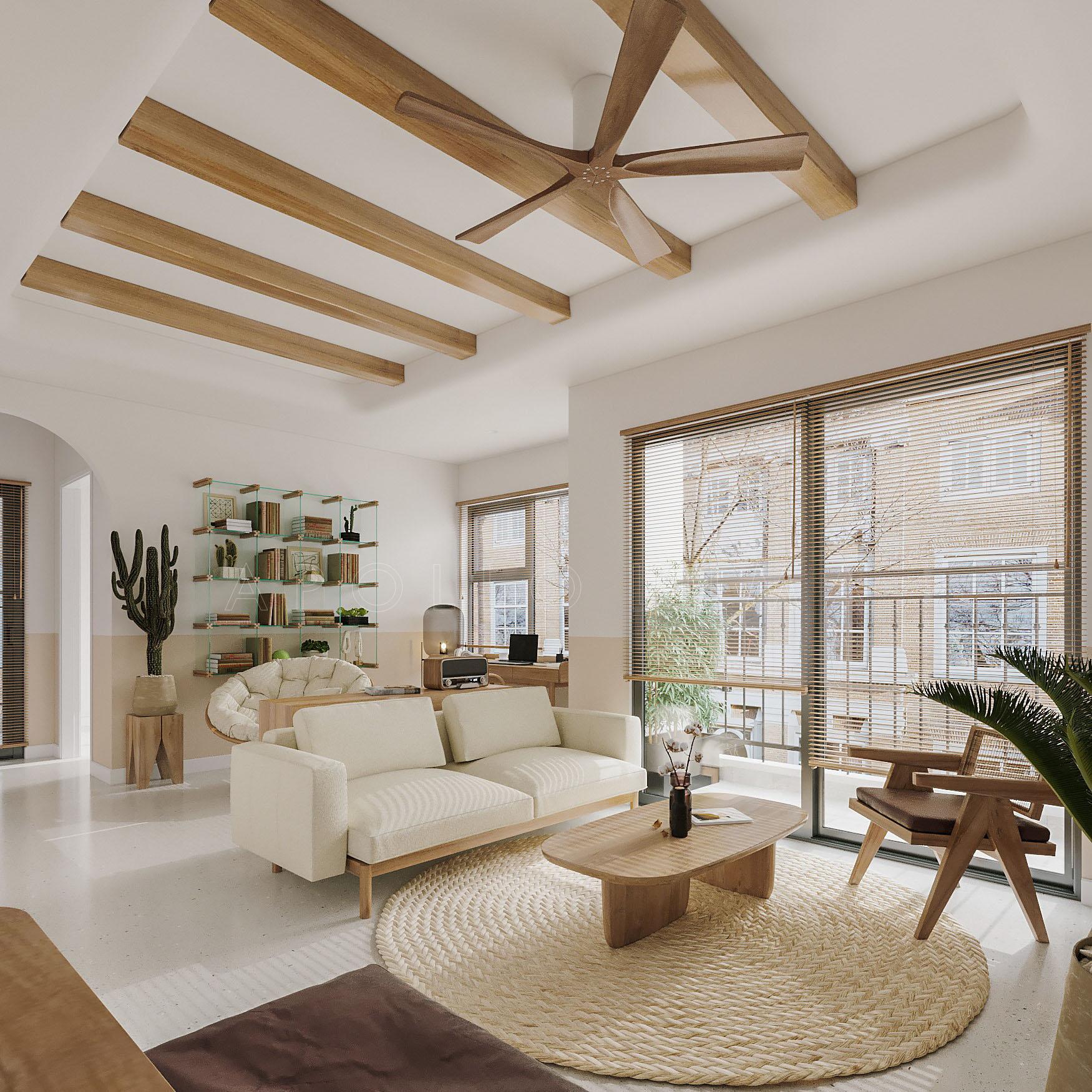 Thiết kế nội thất căn 2PN+1 (65m2) S2.03-26 Vinhomes Ocean Park phong cách Tropical