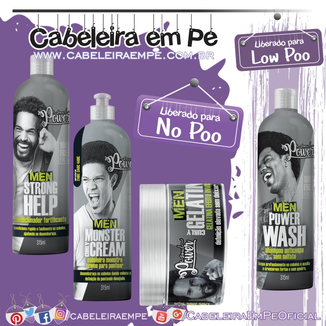 Shampoo Anticaspa (Low Poo), Condicionador, Creme para Pentear e Gelatina Men (Liberados para No Poo) - Soul Power