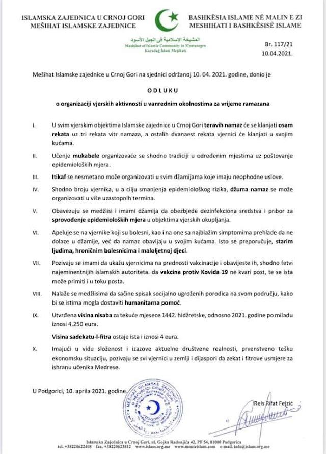 Saopštenje IZCG povodom aktivnosti u mjesecu ramazanu