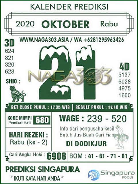 Kode syair Singapore Rabu 21 Oktober 2020 130