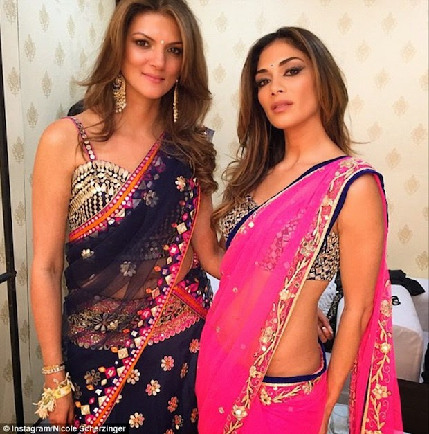 Nicole Scherzinger with sister wearing beautiful saree on wedding day