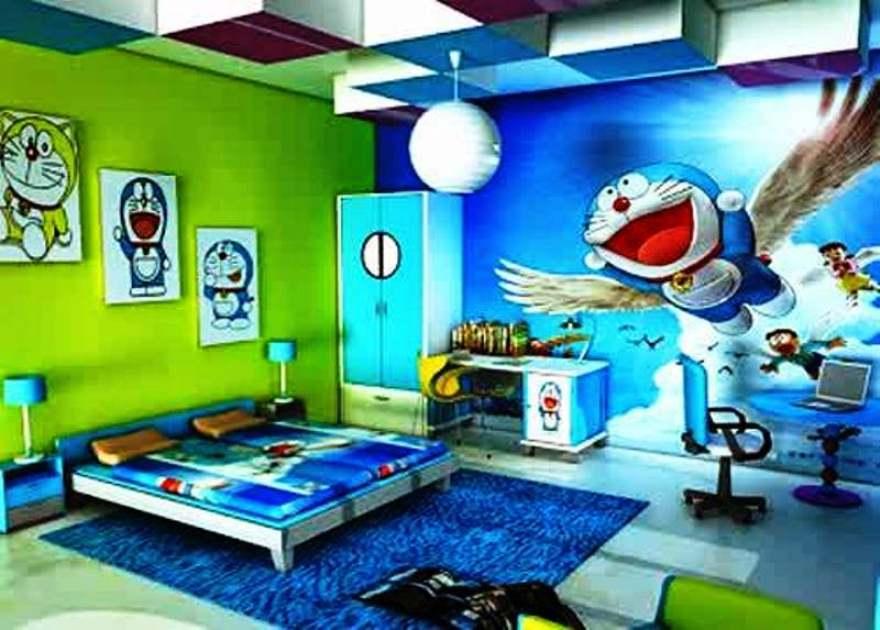 Gambar Wallpaper Dinding Tema Doraemon Untuk Kamar Anak Laki-Laki